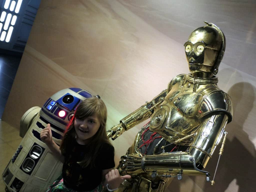 A wax figure of R2D2 and C3PO displayed in Madame Tussauds in London