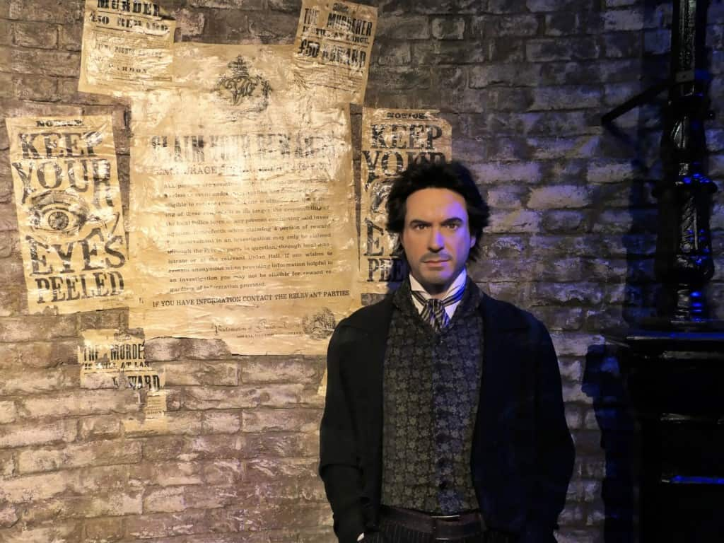 A wax figure of Robert Downy, Jr. as Sherlock Holmes displayed in Madame Tussauds in London