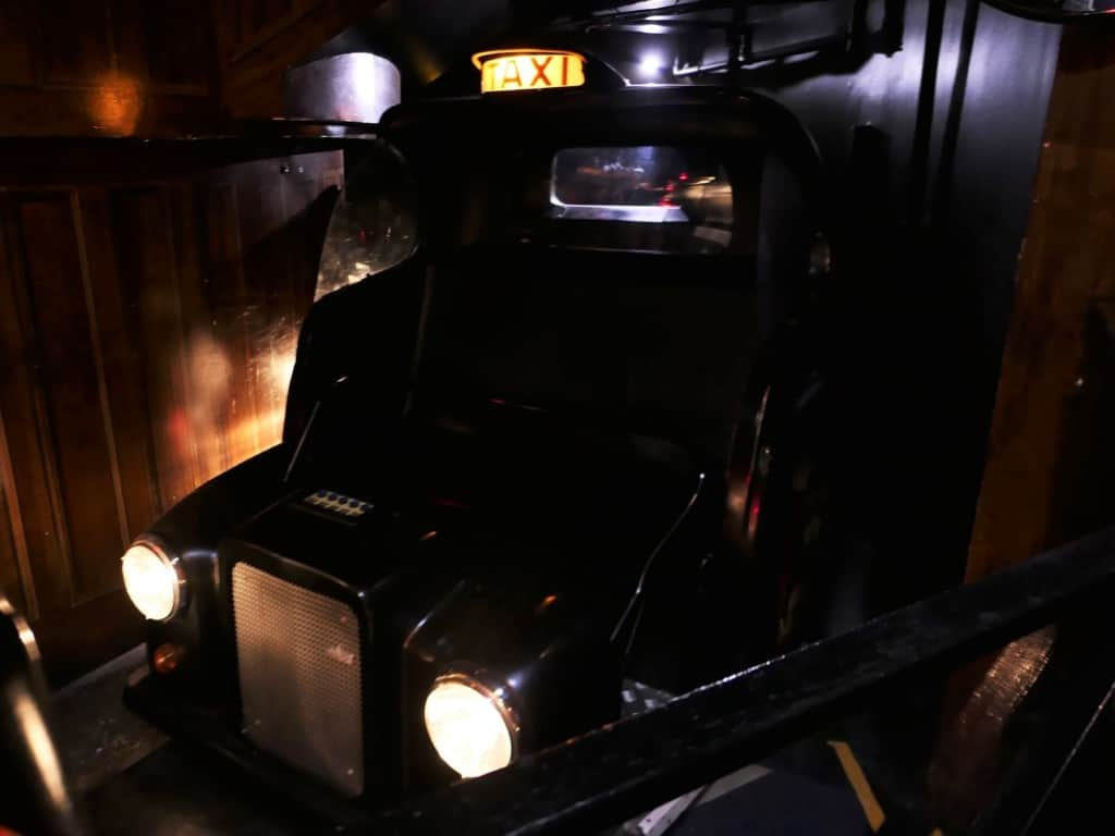 A black cab carriage from the Spirit of London ride.