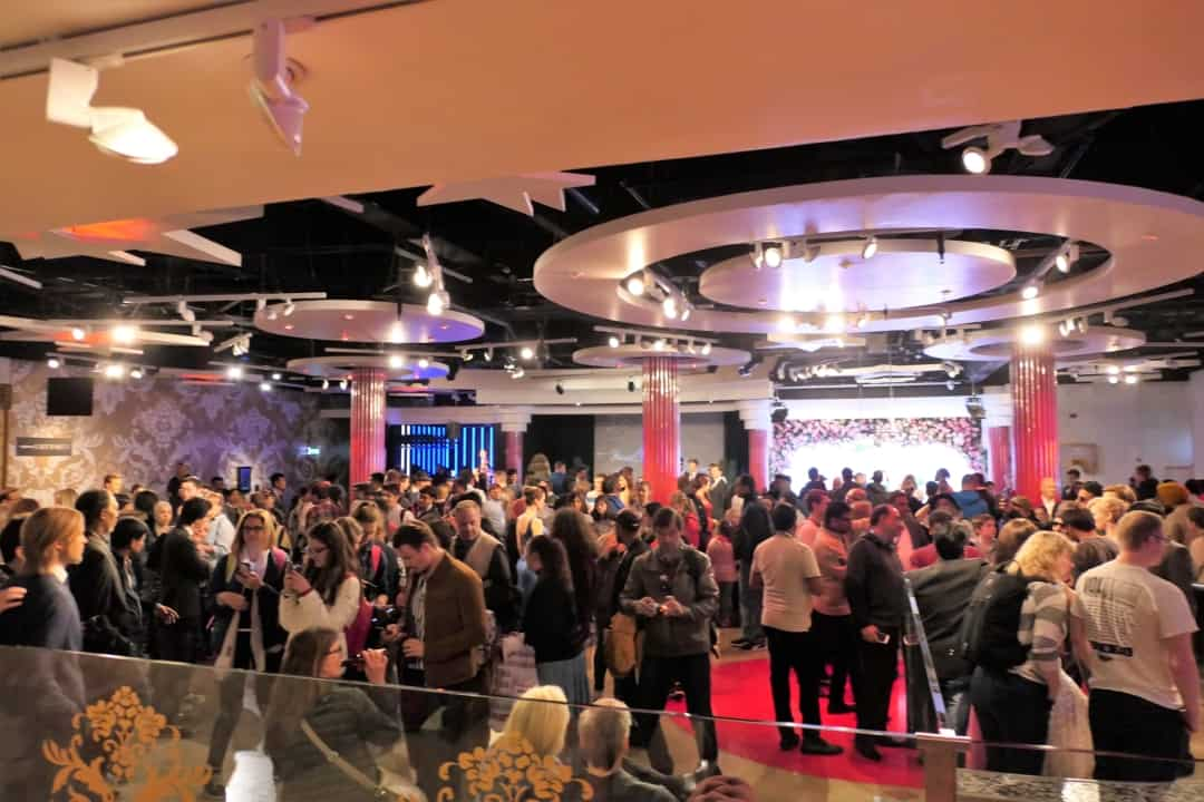 Walking into the star studded party room in Madame Tussauds in London