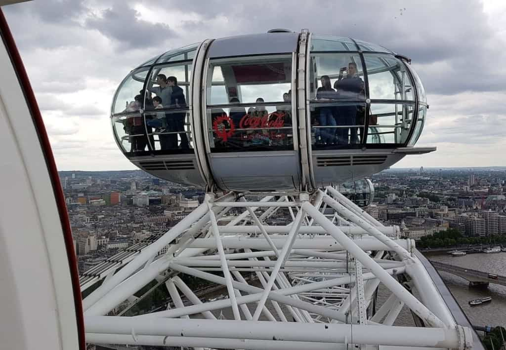 A pod at the top of the London Eye
