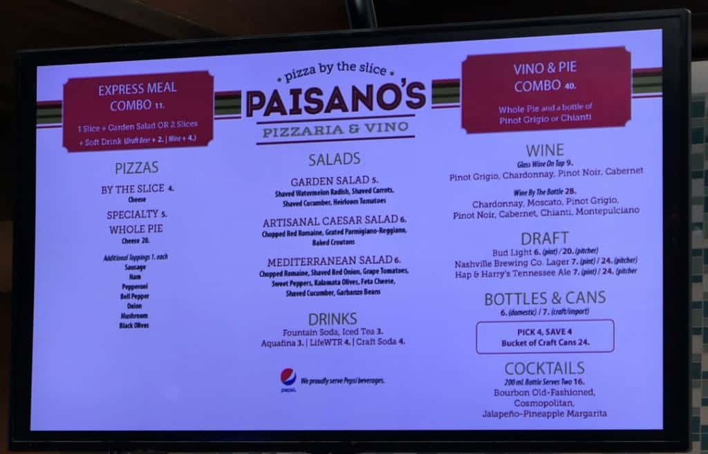 Paisano's Pizzaria menu