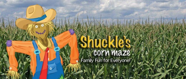 Shuckle's Corn maze - family fun for everyone with a scarecrow and corn in the back ground.