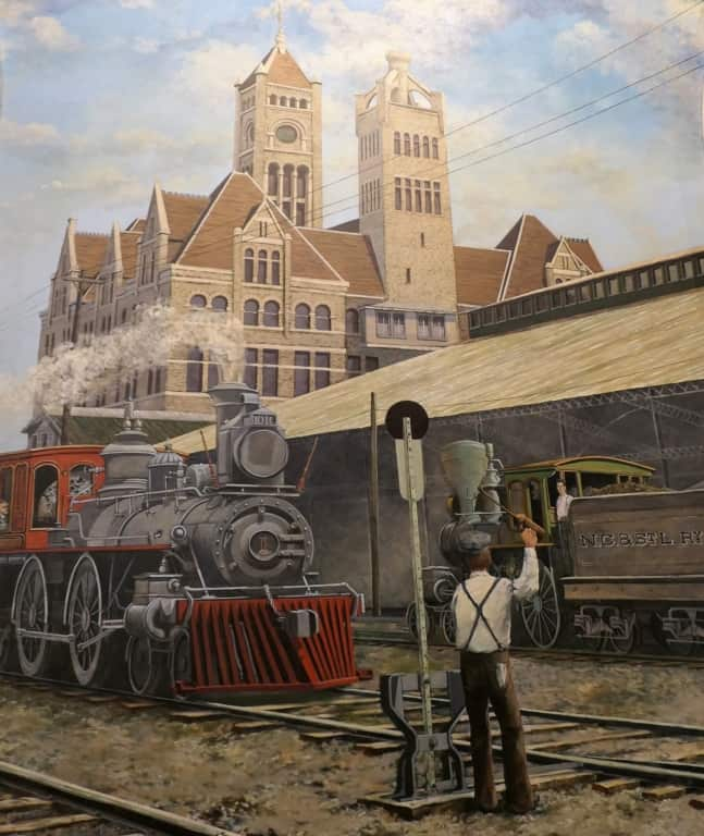 Mural of Union Station and a steam engine on the wall of the Gaylord Opryland Hotel