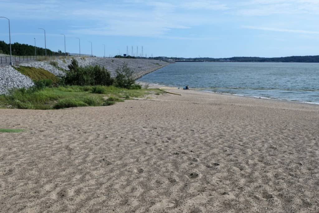 Large sandy beach with swimming area on Kentucky Lake