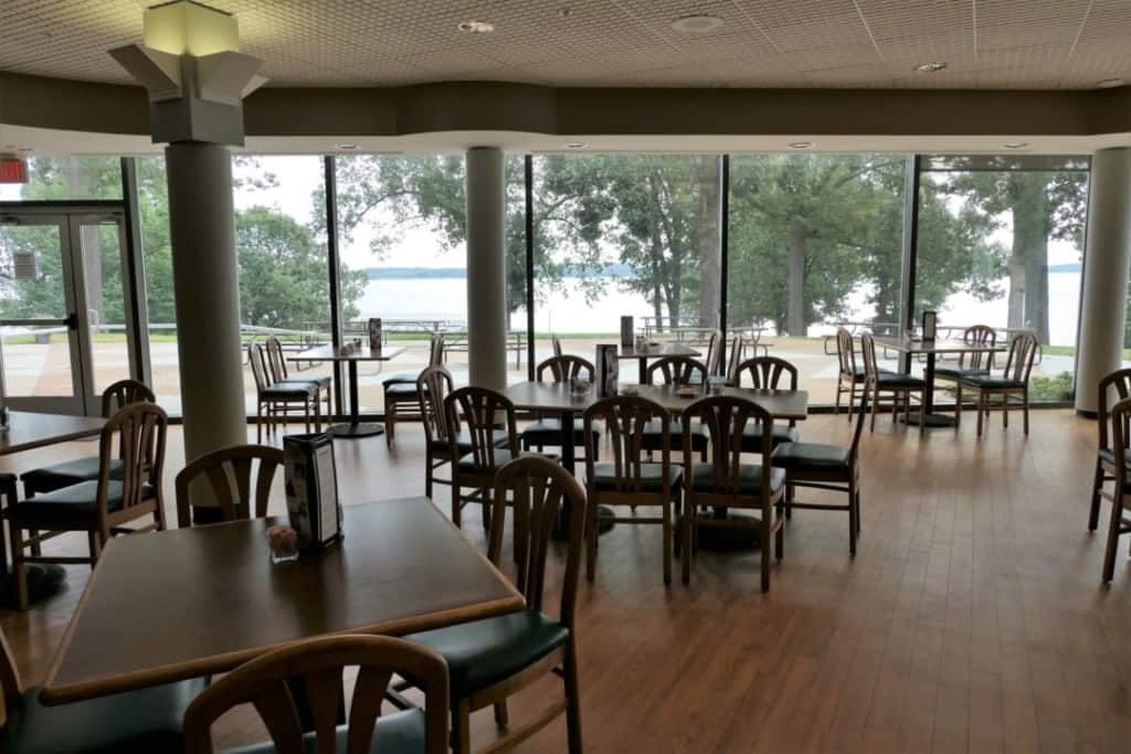 Dining tables and chairs at the Harbor Light Restaurant