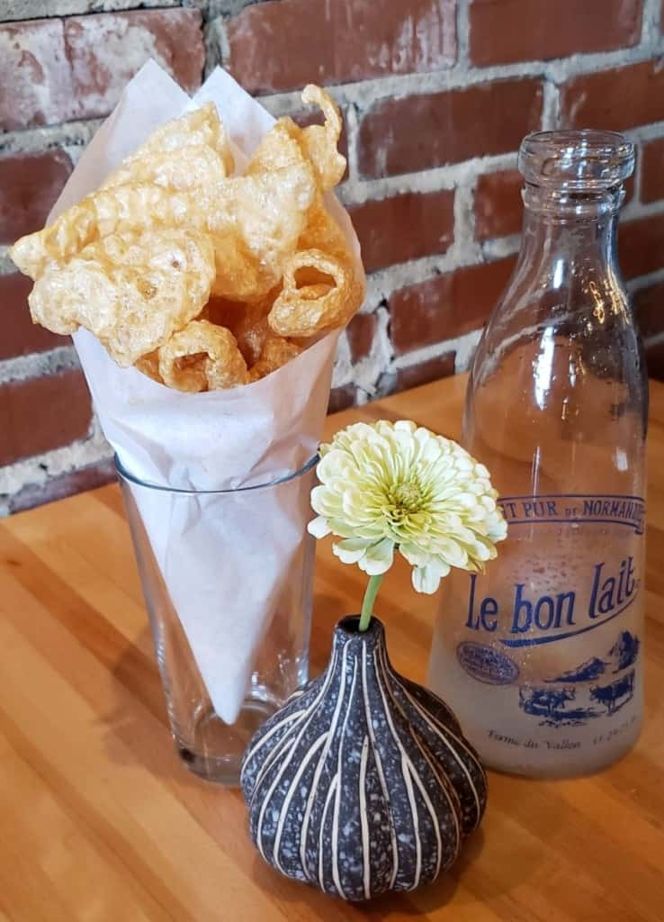 Fresh, homemade pork rinds at the Freight House in Paducah, Kentucky.