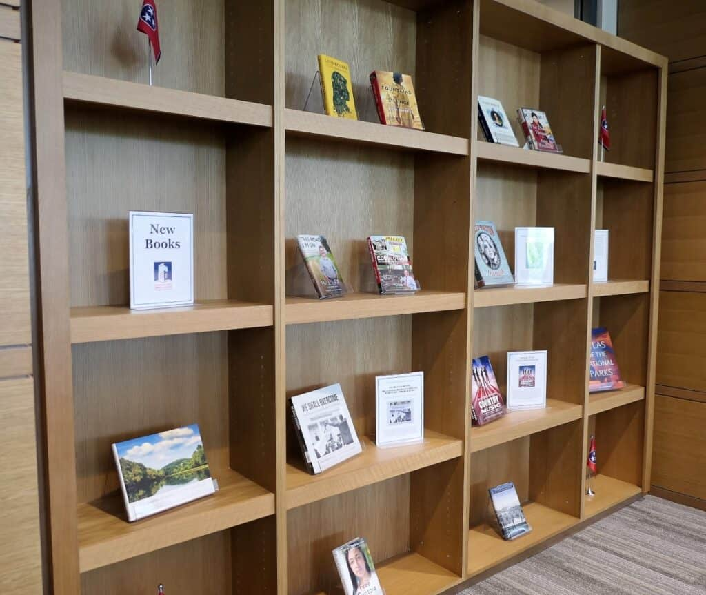 New books in the reading room at the Tennessee State Library