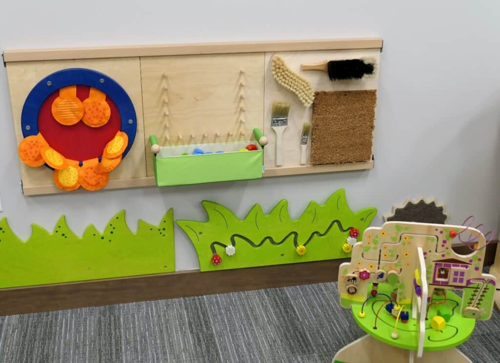 Accessibility sensory wall to help learn braille